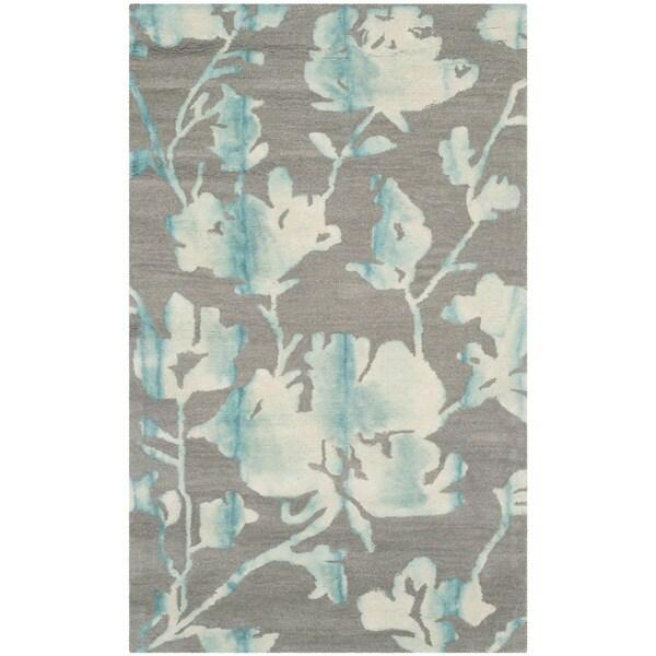 Safavieh Dip Dye Gray Turquoise Area Rug Reviews: Shop Safavieh Handmade Dip Dye Watercolor Vintage Grey
