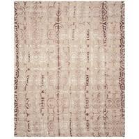 Safavieh Handmade Dip Dye Watercolor Vintage Beige/ Maroon Wool Rug - 6' x 9'