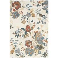 Safavieh Handmade Blossom Red/ Blue Wool Rug - 4' x 6'