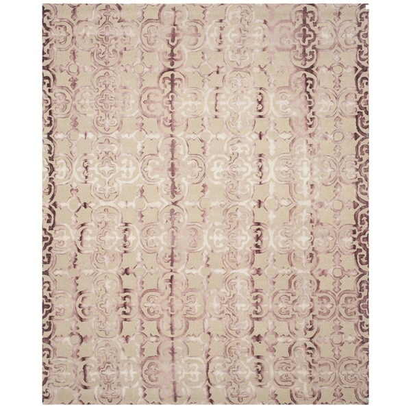 Safavieh Handmade Dip Dye Watercolor Vintage Beige/ Maroon Wool Rug - 9' x 12'