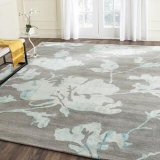 Safavieh Handmade Dip Dye Watercolor Vintage Grey/ Turquoise Wool Rug (4' x 6')