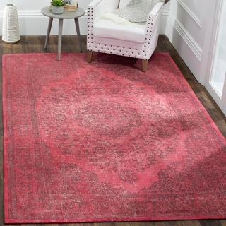 Safavieh Classic Vintage Overdyed Fuchsia Cotton Distressed Rug (6'7 x 9'2)