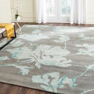 Safavieh Handmade Dip Dye Watercolor Vintage Grey/ Turquoise Wool Rug (6' x 9')