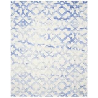 Safavieh Handmade Dip Dye Watercolor Vintage Ivory/ Blue Wool Rug (9' x 12')
