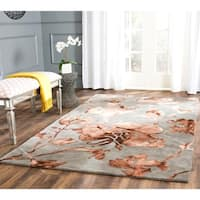 Safavieh Handmade Dip Dye Watercolor Vintage Grey/ Beige Wool Rug - 6' x 9'