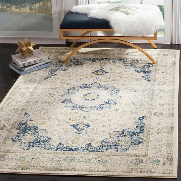 Retro Bedroom Chairs Persian Carpet Bedroom Blue Grey Bedroom Colour Scheme Bench Seat For Bedroom: Shop Safavieh Evoke Vintage Oriental Ivory / Blue