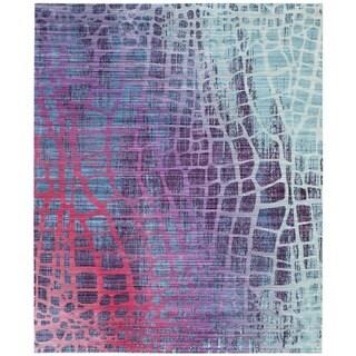 Safavieh Valencia Blue/ Fuchsia Abstract Distressed Silky Polyester Rug (4' x 6')