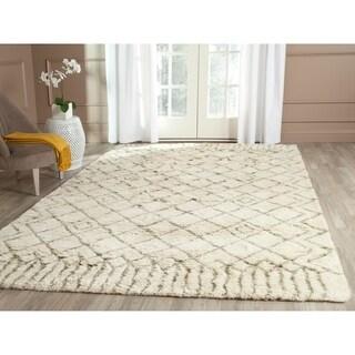 Safavieh Hand-Tufted Casablanca Shag Ivory/ Green N.Z. Wool Rug (9' x 12')