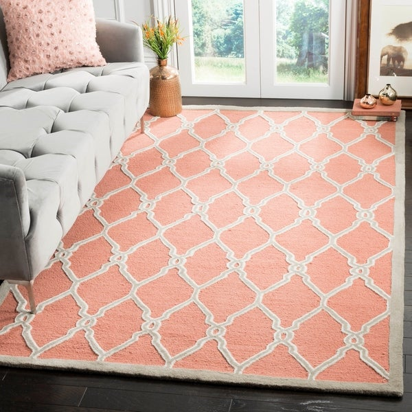 Safavieh Hand-Tufted Cambridge Coral/ Ivory Wool Rug - 9' x 12'