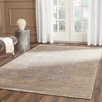 Safavieh Valencia Grey/ Gold Distressed Silky Polyester Rug - 5' x 8'