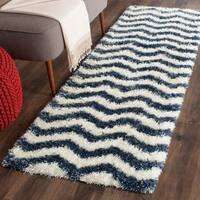 Safavieh Montreal Shag Ivory/ Blue Stripe Polyester Rug - 2'3 x 7'