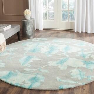 Safavieh Handmade Dip Dye Watercolor Vintage Grey/ Turquoise Wool Rug (7' Round)