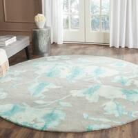 Safavieh Handmade Dip Dye Watercolor Vintage Grey/ Turquoise Wool Rug - 7' Round