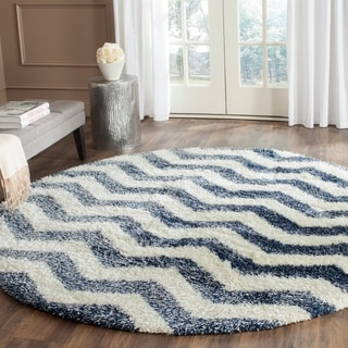 Safavieh Montreal Shag Ivory/ Blue / Polyester Rug (6'7 Round)