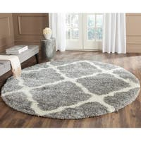Safavieh Montreal Shag Grey/ Ivory Polyester Rug - 6'7 Round