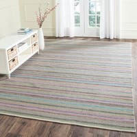 Safavieh Hand-Woven Striped Kilim Light Grey/ Multi Wool Rug - 8' x 10'