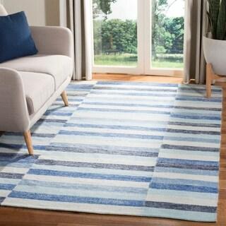 Safavieh Hand-Woven Striped Kilim Blue Wool Rug (5' x 8')