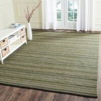 Safavieh Hand-Woven Striped Kilim Green Wool Rug - 8' x 10'
