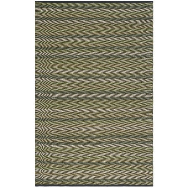 Safavieh Hand-Woven Striped Kilim Green Wool Rug - 8' x 10'