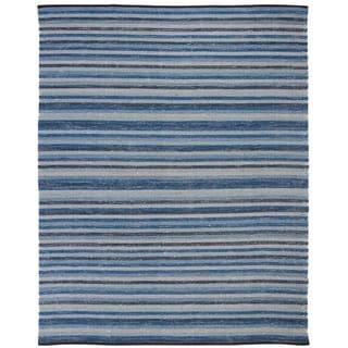 Safavieh Hand-Woven Striped Kilim Blue Wool Rug (8' x 10')