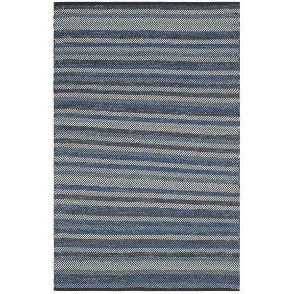Safavieh Hand-Woven Striped Kilim Blue Wool Rug - 8' x 10'