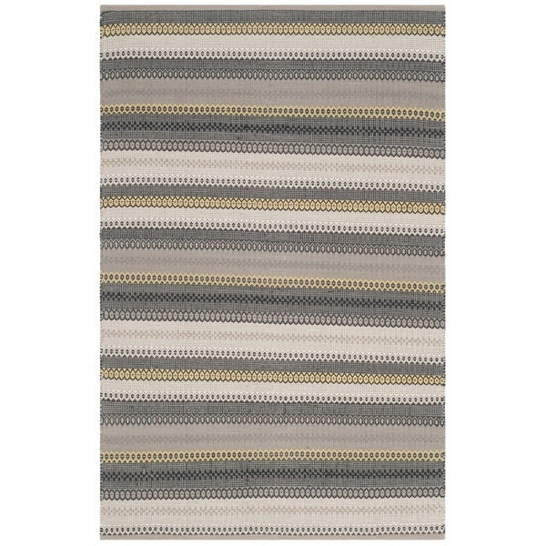 Safavieh Hand-Woven Striped Kilim Grey Wool Rug - 8' x 10'