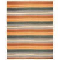 Safavieh Hand-Woven Striped Kilim Gold/ Grey Wool Rug - GOLD - 8' x 10'
