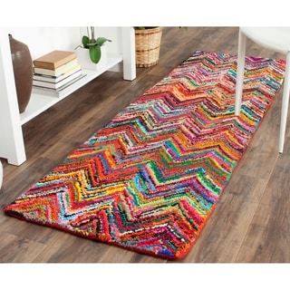 Safavieh Handmade Nantucket Abstract Chevron Pink/ Multi Cotton Runner Rug (2' 3 x 14')