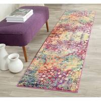 Safavieh Monaco Abstract Watercolor Pink/ Multi Distressed Rug - 2'2 x 14'