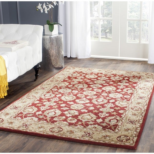 Safavieh Hand-Tufted Stratford Red/ Ivory N.Z. Wool Rug - 8' X 10'