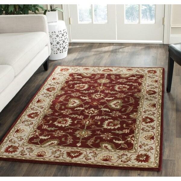 Safavieh Hand-Tufted Stratford Red/ Beige N.Z. Wool Rug - 8' x 10'