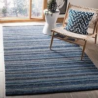Safavieh Hand-Woven Striped Kilim Blue Wool Rug - 5' x 8'