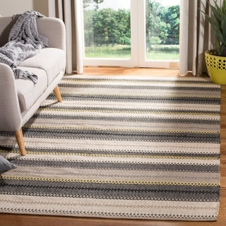 Safavieh Hand-Woven Striped Kilim Grey Wool Rug (5' x 8')