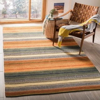 Safavieh Hand-Woven Striped Kilim Gold/ Grey Wool Rug (5' x 8')