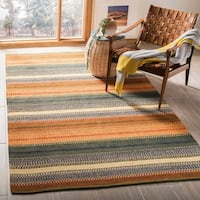 Safavieh Hand-Woven Striped Kilim Gold/ Grey Wool Rug - Grey/Gold - 5' x 8'