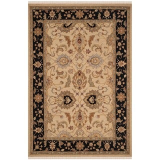Safavieh Hand-Woven Sumak Light Gold/ Black Wool Rug (8' x 10')