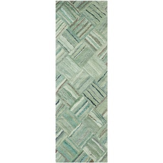 Safavieh Handmade Nantucket Abstract Green/ Multi Cotton Runner Rug (2' 3 x 13')