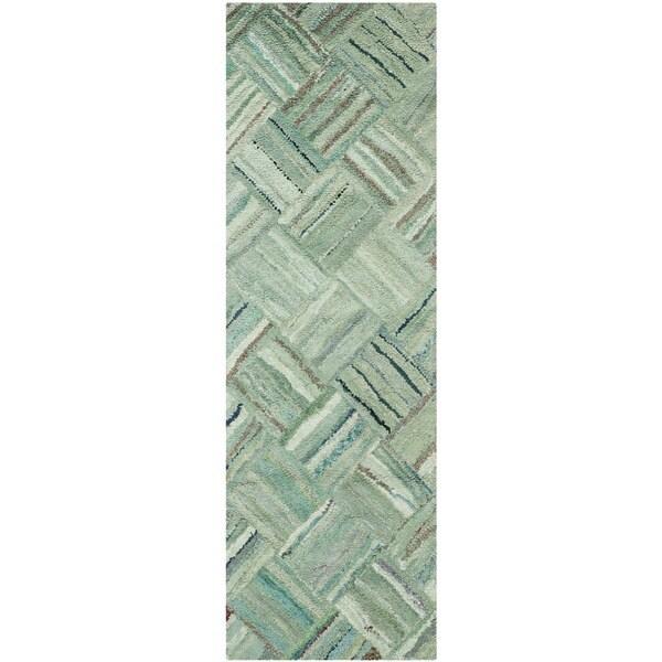 Safavieh Handmade Nantucket Abstract Green/ Multi Cotton Runner Rug (2' 3 x 13') - 2'3 x 13'
