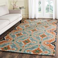 Safavieh Handmade Roslyn Blue/ Beige Wool Rug - 4' x 6'