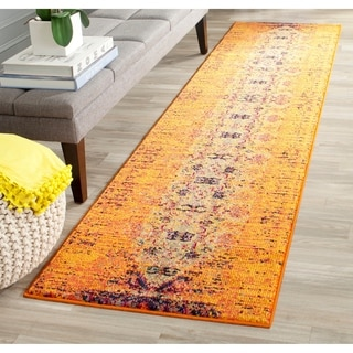 Safavieh Monaco Modern Abstract Orange/ Multi Rug (2'2 x 12')