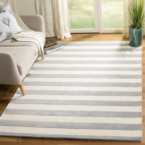 Safavieh Hand-Tufted Cambridge Grey/ Ivory Wool Rug - 8' x 8' Square