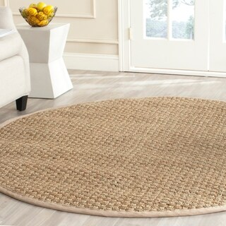 Safavieh Casual Natural Fiber Natural and Beige Border Seagrass Rug - 8' Round