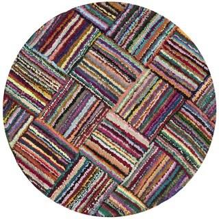 Safavieh Handmade Nantucket Modern Abstract Multicolored Cotton Rug (8' x 8' Round)