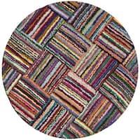 Safavieh Handmade Nantucket Modern Abstract Multicolored Cotton Rug - 8' Round