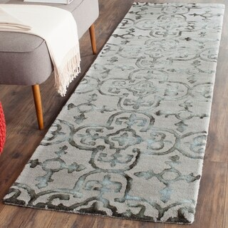 Safavieh Handmade Dip Dye Watercolor Vintage Grey/ Charcoal Wool Rug (2'3 x 10')
