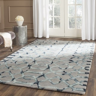 Safavieh Handmade Dip Dye Watercolor Vintage Grey/ Charcoal Wool Rug (7' Square)