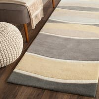 "Safavieh Hand-Tufted Soho Grey/ Gold Wool/ Viscose Rug - 2'6"" x 8'"