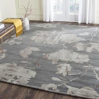 Safavieh Handmade Dip Dye Watercolor Vintage Grey/ Beige Wool Rug (7' Square)