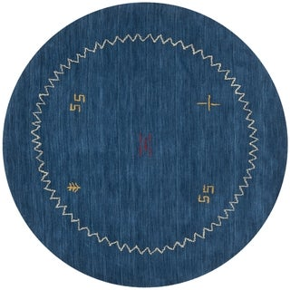 Safavieh Handmade Himalaya Blue Wool Gabbeh Area Rug (8' Round)