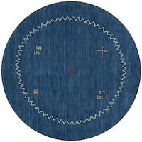Safavieh Handmade Himalaya Blue Wool Gabbeh Area Rug - 8' x 8' Round